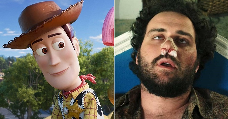 Un primo piano di Woody in Toy Story 4 e uno di Lorenzo Lazzarini in Daitona