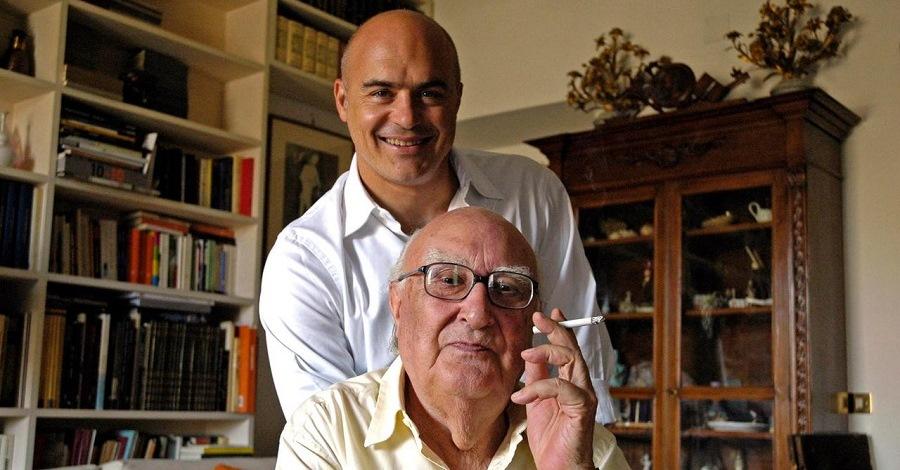 Andrea Camilleri e Luca Zingaretti insieme a casa dello scrittore