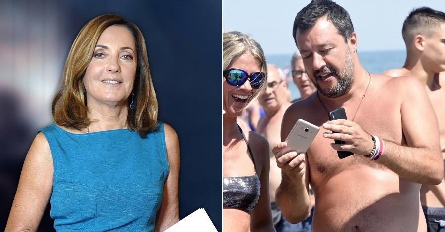 Barbara Palombelli a Stasera Italia e Matteo Salvini a Milano Marittima