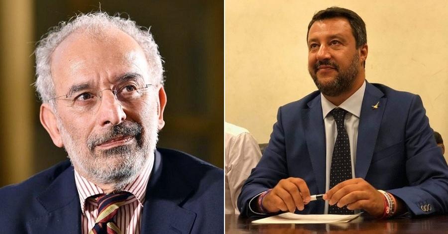Un primo piano di Gad Lerner e Matteo Salvini