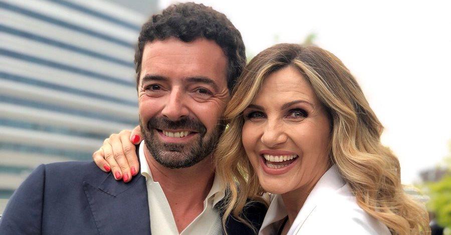 Un primo piano di Alberto Matano e Lorella Cuccarini