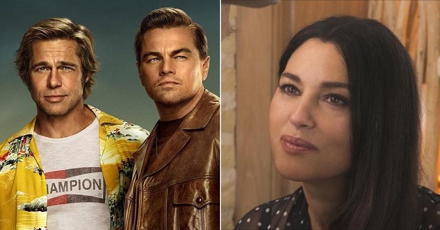 Primi piani di Brad Pitt e Leonardo DiCaprio e Monica Bellucci