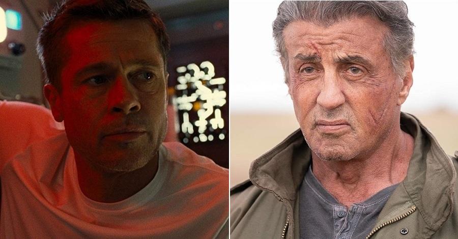 Un primo piano di Brad Pitt e Sylvester Stallone in due scene di Ad Astra e Rambo: Last Blood, 2 dei 12 film al cinema dal 26 settembre