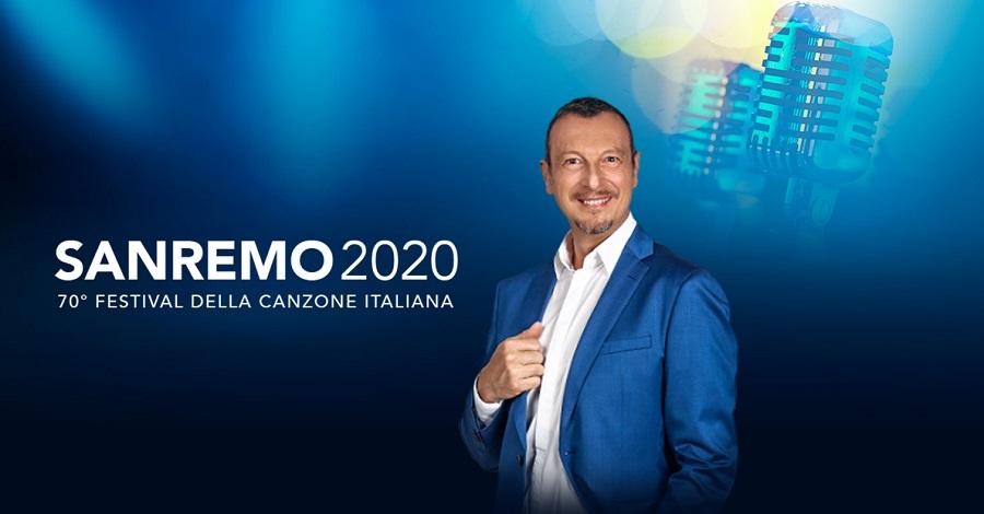 Amadeus sul poster di Sanremo 2020
