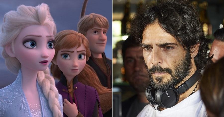 Una scena del film Frozen 2 - Il segreto di Arendelle e un primo piano di Marco Bocci