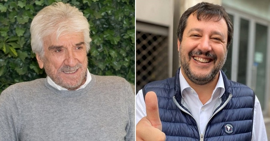 Un primo piano di Gigi Proietti e Matteo Salvini