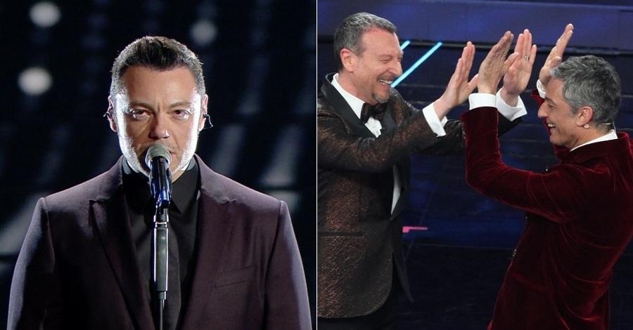 Tiziano Ferro e Fiorello e Amadeus a Sanremo 2020