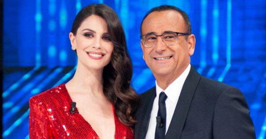 Un primo piano di Ludovica Caramis e Carlo Conti a La Corrida