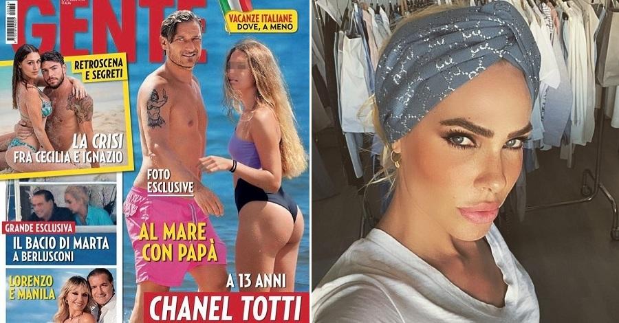 La copertina di Gente con Chanel Totti e un primo piano di Ilary Blasi