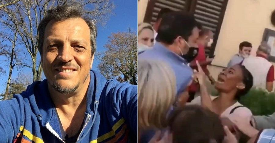 Un primo piano di Gabriele Muccino e l'aggressione a Matteo Salvini