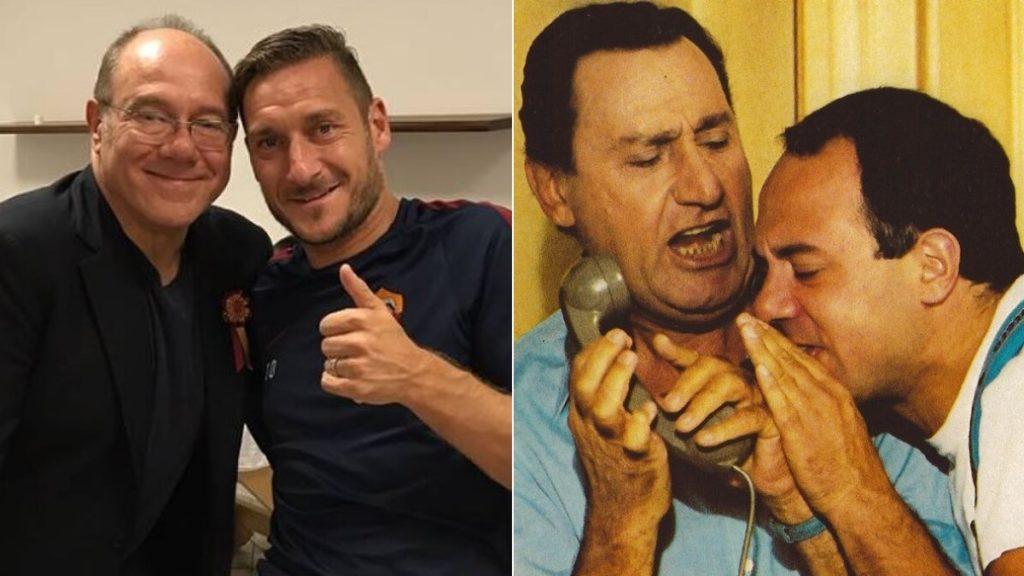 Francesco Totti e Carlo Verdone e una scena del film In viaggio con papà