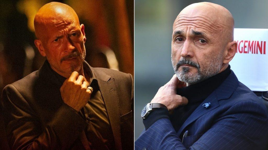 Gianmarco Tognazzi in una scena della serie tv Speravo de morì prima e il vero Luciano Spalletti