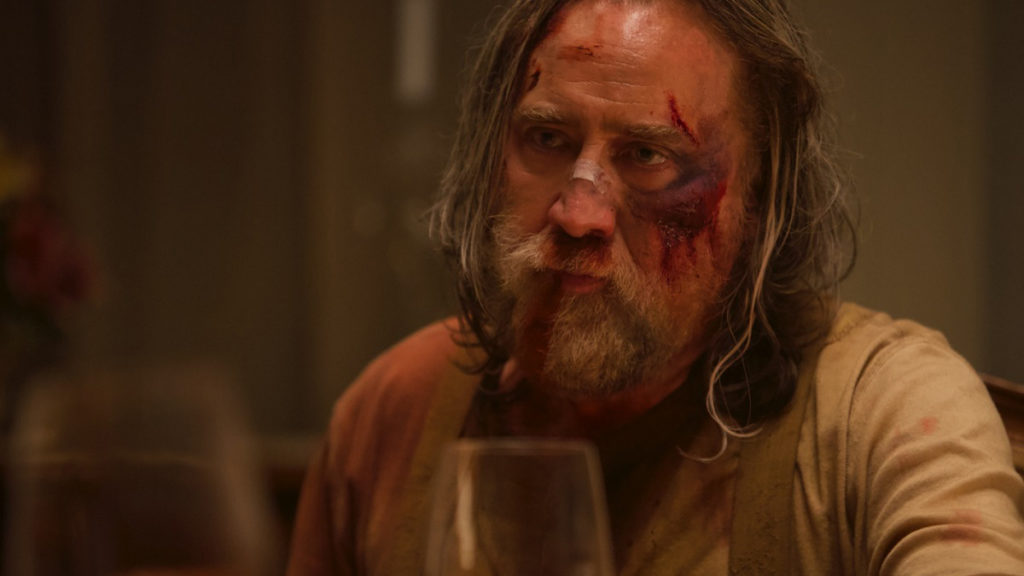 Un primo piano di Nicolas Cage nel film Pig