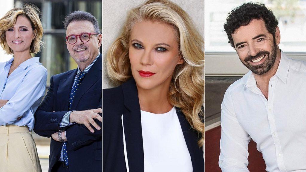 Primi piani di Monica Giandotti e Marco Frittella, Eleonora Daniele e Alberto Matano